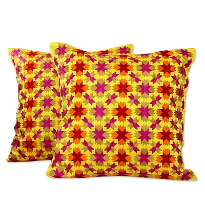 Novica Holi Stars over Satin Pillow Cover (Set of 2)