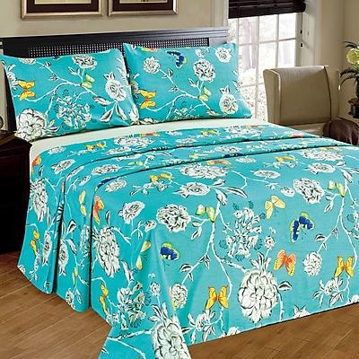 Tache Home Fashion Butterfly Wonderland 100pct Cotton Flat Sheet Set; King