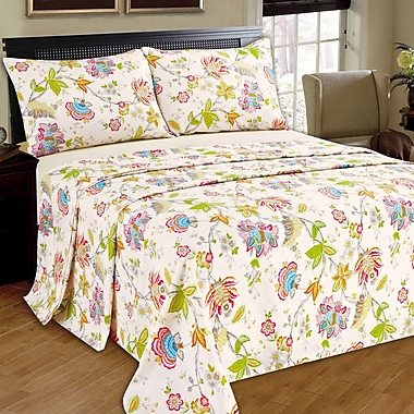 Tache Home Fashion Quiet Morning Garden 100pct Cotton Flat Sheet Set; King