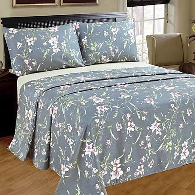 Tache Home Fashion Cherry Blossom 100pct Cotton Flat Sheet Set; King