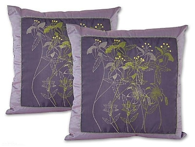 Novica Herbs Hand Crafted Floral Pillow Cover (Set of 2)