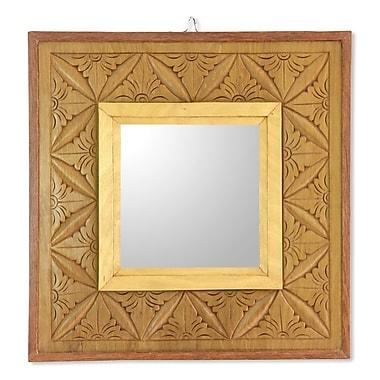 Novica Matahari Mosaic Reversible Wall Panel w/ Mirror in Hand Carved Wood