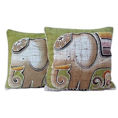 Novica Pachyderm Personality Batik Cotton Pillow Cover (Set of 2)