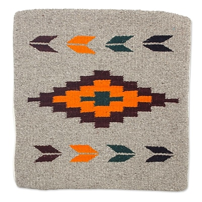 Novica Oaxaca Sun Geometric Motif Handwoven Zapotec Wool Pillow Cover