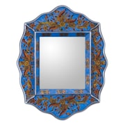 Novica Pretty Floral Charming Artisan Reverse Painted Glass Wall Mirror