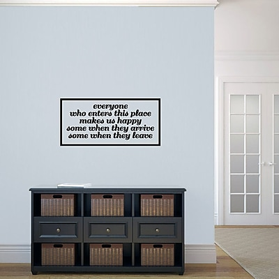SweetumsWallDecals Everyone Who Enters Makes Us Happy Wall Decal; Black