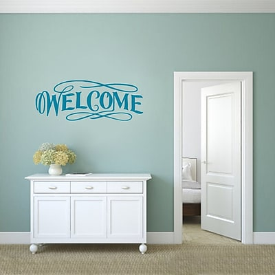 SweetumsWallDecals Fancy Welcome Wall Decal; Teal