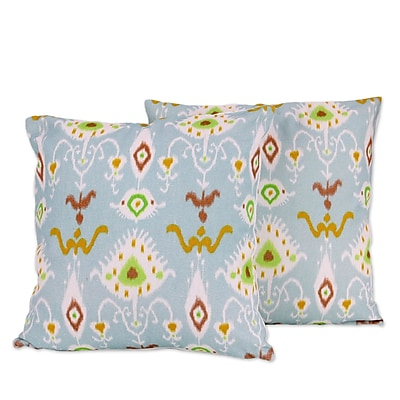 Novica Morning Dewdrops Artisan Crafted Square Cotton Pillow Cover (Set of 2)