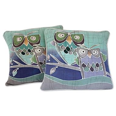 Novica Mischievous Owls Artisan Crafted Pillow Cover (Set of 2)