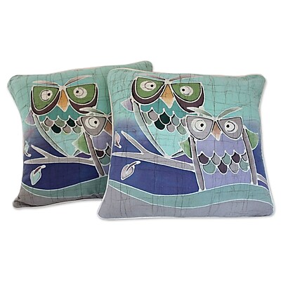 Novica Mischievous Owls Artisan Crafted Pillow Cover (Set of 2)