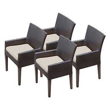 TK Classics Napa Dining Arm Chair w/ Cushion (Set of 4) (Set of 4); Beige
