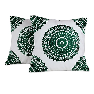 Novica Delight Embroidered Cotton Pillow Cover (Set of 2)