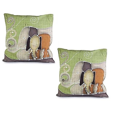 Novica Elephant's Reminiscences Batik Cotton Pillow Cover (Set of 2)