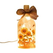 Glitzhome Lighted Frosted Sunflower Glass Bottle