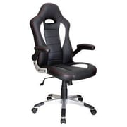Just Cabinets Deluxe Gaming High-Back Gaming Chair; Black / White