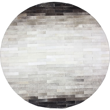 Bashian Rugs Tuscon Hand-Crafted Gray Area Rug; Round 6'