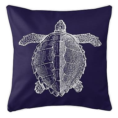 Island Girl Home Vintage Coastal Sea Turtle Throw Pillow; Navy