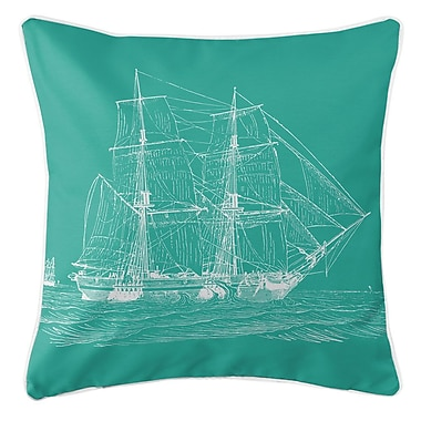 Island Girl Home Vintage Coastal Ship Throw Pillow; Aqua