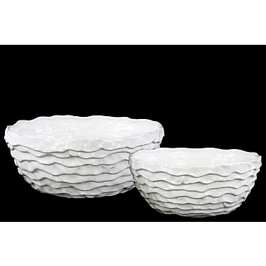 Urban Trends 2-Piece Ceramic Pot Planter Set; Gloss/White