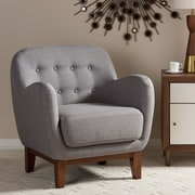 Wholesale Interiors Baxton Studio Susana Upholstered Button Tufted Arm Chair; Light Gray