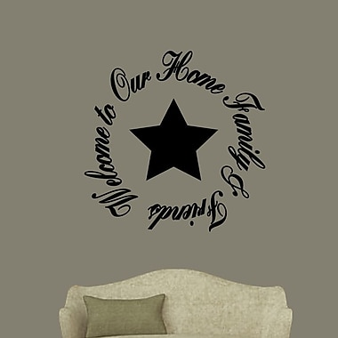 SweetumsWallDecals Welcome to Our Home Family and Friends Wall Decal; Black