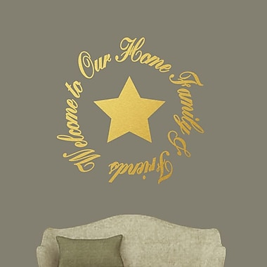 SweetumsWallDecals Welcome to Our Home Family and Friends Wall Decal; Gold