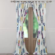 Greenland Home Fashions Dream Catcher Graphic Print & Text Sheer Tab Top Curtain Panels (Set of 2)