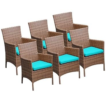 TK Classics Laguna Dining Arm Chair w/ Cushion (Set of 6) (Set of 6); Navy