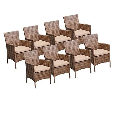 TK Classics Laguna Dining Arm Chair w/ Cushion (Set of 8) (Set of 8); Wheat