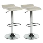 WorldWide HomeFurnishings Adjustable Height Swivel Bar Stool w/ Cushion (Set of 2); Beige
