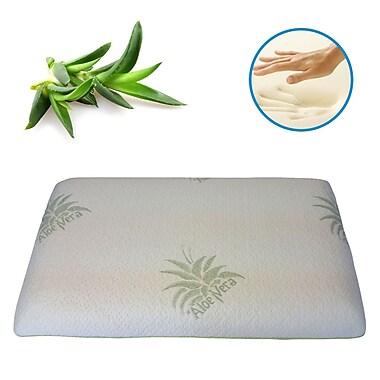 Aloe Vera – Oreiller en coton en mousse mémoire infusée d'aloès naturel écologique, grand lit