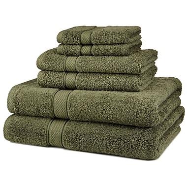 Casual Elegance – Ensemble de serviettes en 6 pièces à 100 % en coton égyptien au séchage rapide, vert
