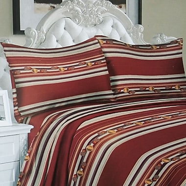 Couture – Ensemble de drap microfibre profond série 850 de luxe, imprimé rouge à rayures, grand lit