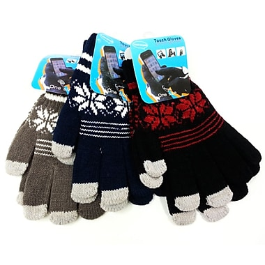 iTouch Snowflake Touchscreen Gloves, One Size Fits All, Black&Red