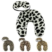 Bio Swiss Neck Travel Pillows and Eye Mask, Snow Leopard Print