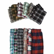 Schonfeld Plaid 100% Soft Cotton Pajama Pants, Small, Assorted Colour, 5/Pack