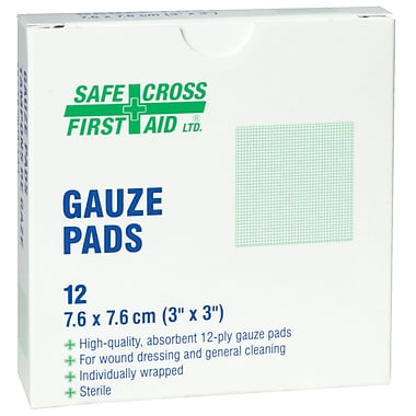Safecross – Compresses de gaze, 3 x 3 (po), stérile, 288/paquet (2023)