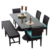 TK Classics Napa 6 Piece Dining Set w/ Cushions; Navy
