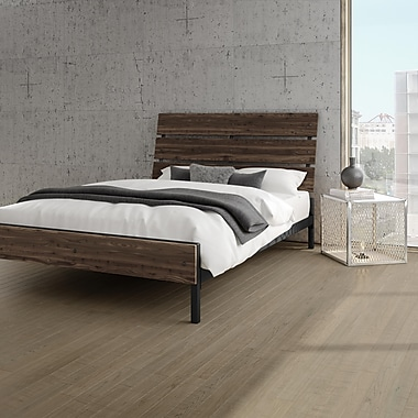 Amisco – Lit double en métal et en bois Riverton de 54 po, gris foncé moyen