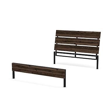 Amisco – Tête de lit et pied de lit en métal et en bois Riverton de 54 po, pour lit double, gris foncé moyen