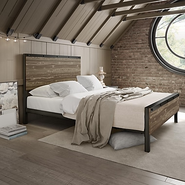 Amisco – Lit en bois et en métal Winkler, grand lit, 60 po, beige