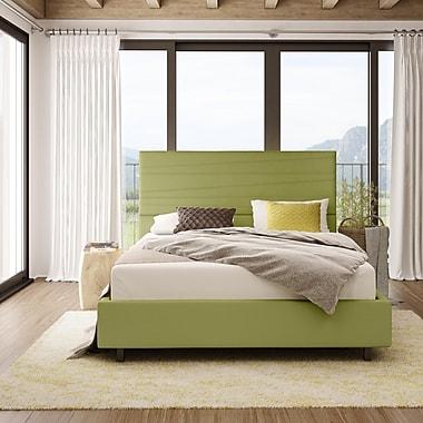 Amisco – Lit capitonné prana, grand lit, 54 po, tissu vert