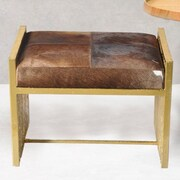 Fashion N You Leather Bedroom Bench; Brown