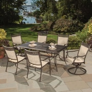 Oakland Living Bali Cast Aluminum and Sling 7 Piece Dining Set