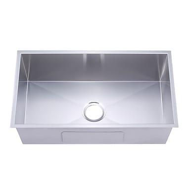 Y Decor Hardy 30'' x 18'' Single Bowl Undermount Kitchen Sink