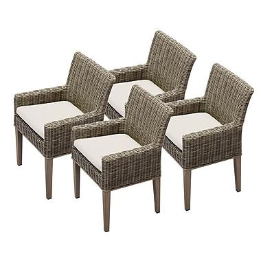 TK Classics Cape Cod Dining Arm Chair w/ Cushion (Set of 4) (Set of 4); Beige