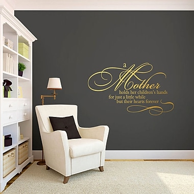 SweetumsWallDecals A Mother Holds Her Children's Hands Wall Decal; Gold