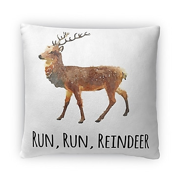 Kavka Run Run Reindeer Fleece Throw Pillow