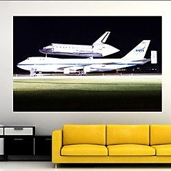 Wallhogs PFP Space Shuttle Atlantis Glossy Wall Mural; 46'' H x 72'' W X 0.1'' D