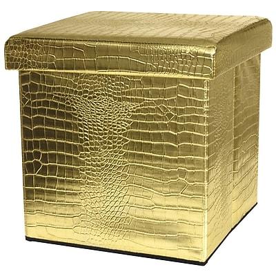 Oriental Furniture Storage Ottoman; Gold